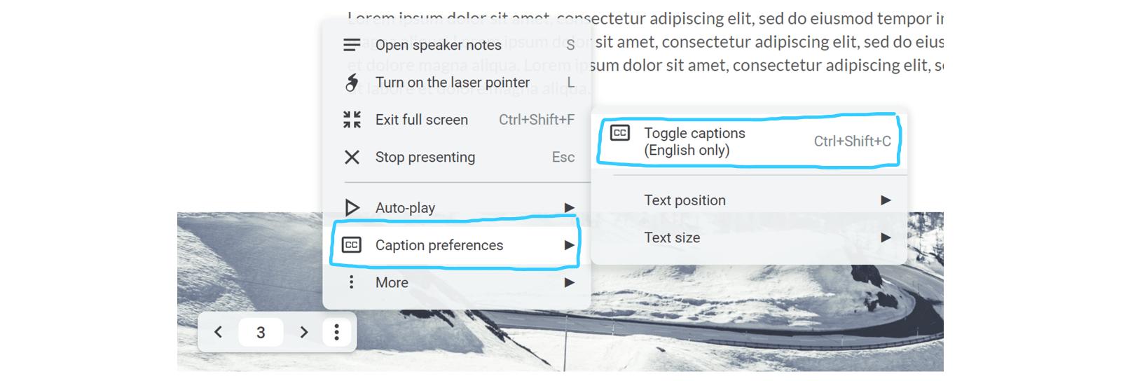 Screenshot of the Google Slides captions options